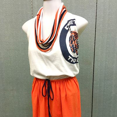 Detroit tiger shirt made into tank and modified shorts.