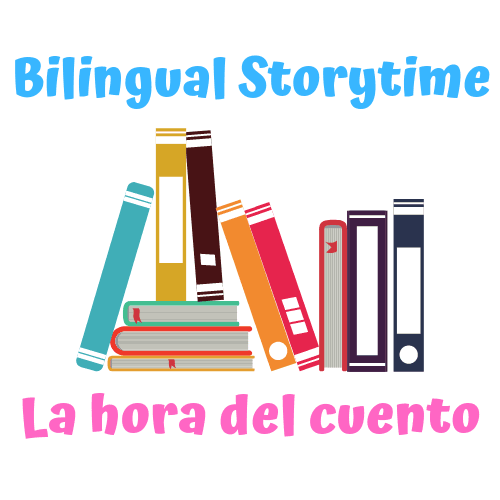 "Image of books that says ""Bilingual Storytime"" above it and ""La hora del cuento"" underne"