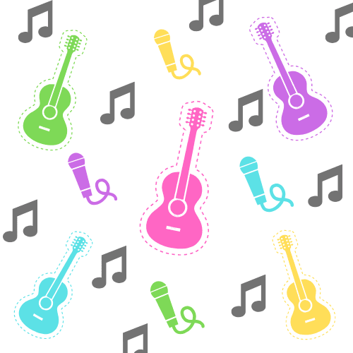 Image of music notes, guitars, and microphones in different bright colors